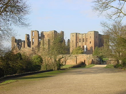 Kenilworth Castle, whence besieged followers of Simon de Montfort issue the Dictum of Kenilworth in 1266, seeking peace with the king of England. Kenilworth Castle gatehouse landscape.jpg