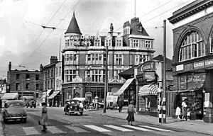 Kentish Town station - The entrance on Kentish Town Road in 1955