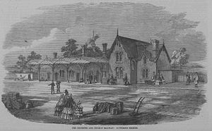 Kettering railway station - Kettering railway station from the Illustrated London News 23 May 1857