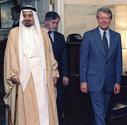 King Khalid of Saudi Arabia and Carter, October 1978 King Khaled (10168117694).jpg