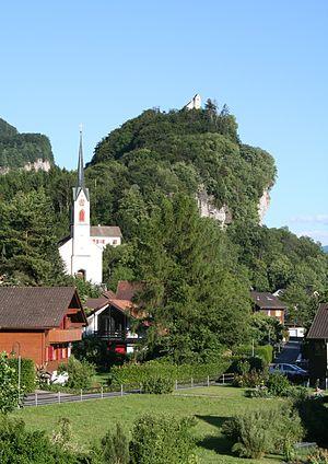 Walenstadt - Village church of Walenstadt-Berschis, in the background is the St. Georg Chapel
