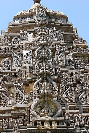 Amrutesvara Temple, Amruthapura - Kirtimukha decoration (demon faces) on Shikhara (tower) at Amruthapura