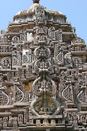 Amrutesvara Temple, Amruthapura - Kirtimukha decoration (demon faces) on Shikhara (tower) at Amruthapura