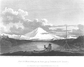 Klallam - Klallam pole for netting ducks, Mount Rainier as seen from Admiralty Inlet, in engraving made in 1792 by John Sykes