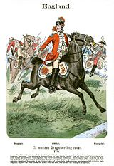 Print of red-coated soldier on horseback with saber