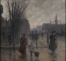 painting of people walking downtown at the turn of the last century