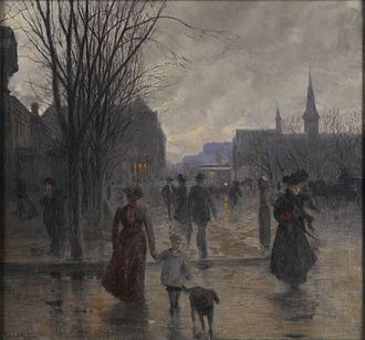 Robert Koehler - Rainy Evening on Hennepin Avenue c. 1902. The oil on canvas original is at the Minneapolis Institute of Arts