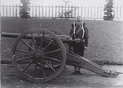 Japanese artillery unit, at the Koishikawa arsenal, Tokyo, in 1882. Photographed by Hugues Krafft.