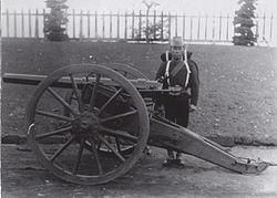 Japanese artillery unit, at the Koishikawa arsenal, Tokyo, in 1882. Photographed by Hugues Krafft.