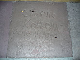 Charlie Korsmo - The handprints of Charlie Korsmo in front of The Great Movie Ride at Walt Disney World's Disney's Hollywood Studios theme park.