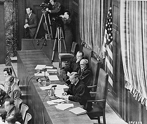 Subsequent Nuremberg trials - The judges in the Krupp trial; back to front: Daly, Anderson, and Wilkins