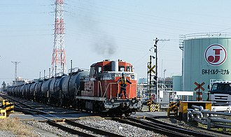 Takasaki Line - Freight train on the industrial siding built on the alignment of the Iwahana Light Railway in 2008
