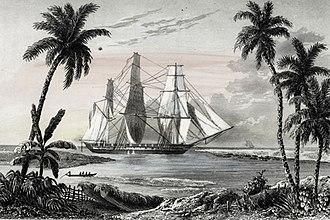 Cyrille Pierre Théodore Laplace - La frégate L'Artémise entrant à Tanoa, après son échouage
