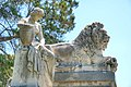 Lacmer's lion sits on grave of Gen. Robert Patterson. Female nude with urn on Gen. Francis Engle Patterson tomb, Laurel Hill Cemetery.jpg