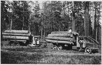 Logging truck - Moreland trucks with solid tires on Moses Mountain in the 1920s