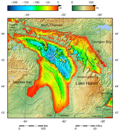 Lake Huron Bathymetric Map The Deepest Point Is Marked With