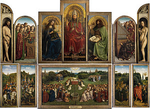 Panel painting - The Ghent Altarpiece by Jan van Eyck and his brothers, 1432. A large altarpiece on panel. The outer wings are hinged, and painted on both sides.