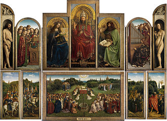 Altarpiece - The Ghent Altarpiece (1432) by Hubert and Jan van Eyck. Considered one of the masterpieces of Northern Renaissance art, a complex polyptych panel painting, which lost its elaborate framework in the Reformation
