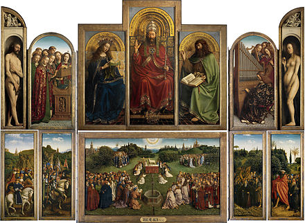 The well-known Ghent Altarpiece, a 15th-century painting by Hubert and Jan Van Eyck in Saint Bavo Cathedral. Lamgods open.jpg