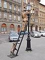 Lamp lighter statue by Attila Meszaros (2014), 2016 Józsefváros.jpg