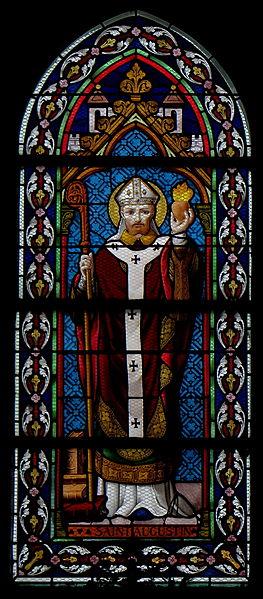 Vitrail de l'église Saint-Martin de Landivy (53). 2ème travée du collatéral gauche. Saint-Augustin.