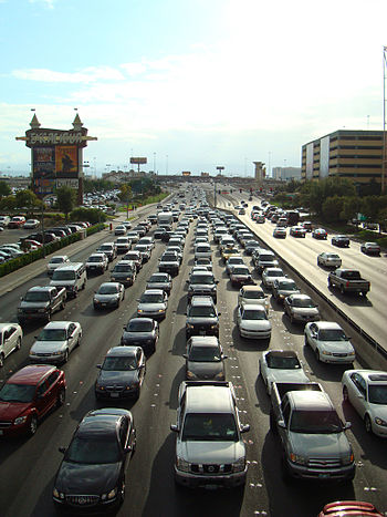 English: Traffic in Las Vegas, Nevada. View lo...