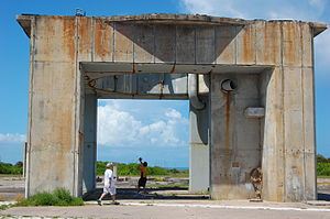 Cape Canaveral Air Force Station Launch Complex 34 - LC-34 today. The plaque (below) is on the rear of the right column.