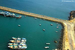 Chabahar Port - Boats anchored in Chabahar Bay.