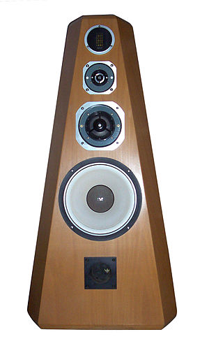 Loudspeaker - A four-way, high fidelity loudspeaker system. Each of the four drivers outputs a different frequency range; the fifth aperture at the bottom is a bass reflex port.