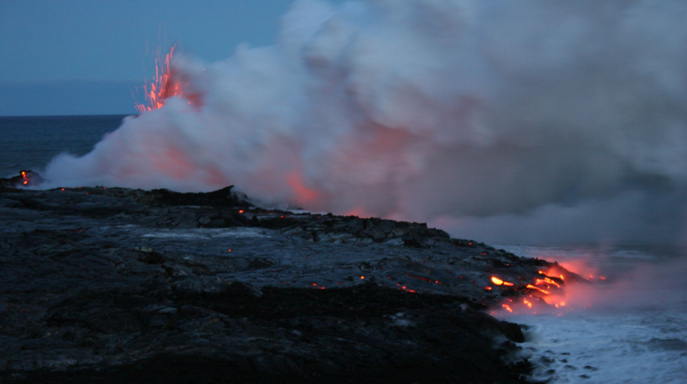 Lava entering sea - Hawaii