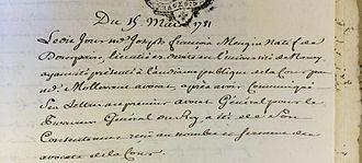 Joseph-François Mangin - Joseph François Mangin's law degree (1781)