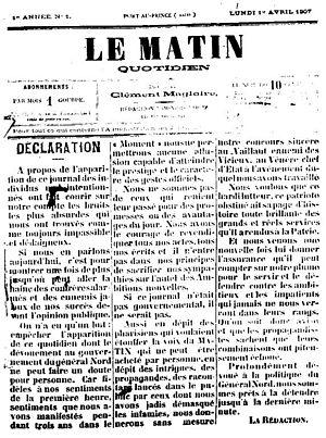 Le Matin (Haiti) - Le Matin first issue, 1 April 1907