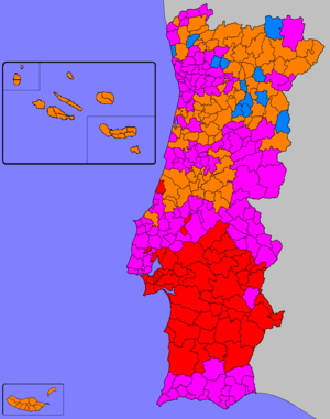 Portuguese legislative election, 1983 - Image: Legislativas portuguesas de 1983 (Mapa)