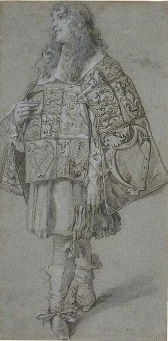 Pursuivant - British pursuivants wore their tabards traversed, with the sleeves front and back, until the reign of James II.