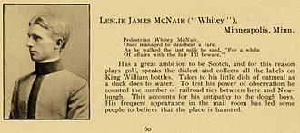 Lesley J. McNair - McNair in 1904's Howitzer, the West Point yearbook. The reference to King William bottles describes a brand of Scotch whisky.