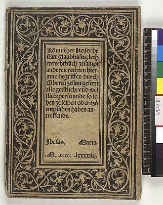 Accursius - Image: Libri feudorum (with the Glossa ordinaria of Accursius) German Das b uch des kaiserlichen Lehenrecht. Upper cover (IB6739)