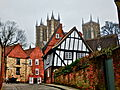 Lincoln Cathedral and a Crooked House.JPG