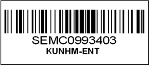 University of Kansas Natural History Museum - A linear barcode that uniquely identifies a specimen in the museum's entomology collection.