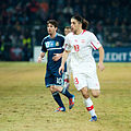 Lionel Messi (L), Ricardo Rodriguez (R) - Switzerland vs. Argentina, 29th February 2012.jpg