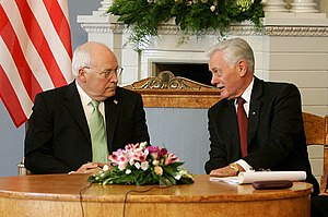 Lithuanian Americans - Valdas Adamkus was a Lithuanian American working in the EPA before being elected President of Lithuania. Adamkus (right) is pictured with U.S. Vice President Dick Cheney during the 2006 Vilnius Conference.