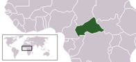 A map showing the location of Central African Republic