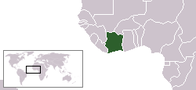 A map showing the location of Côte d'Ivoire