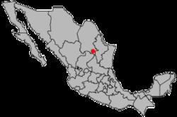Vị trí của đô thị trong bang Coahuila