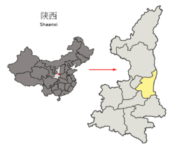 Location of Weinan City jurisdiction in Shaanxi