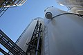 Looking up at the glass former silos that will hold glass forming agents that will be mixed with waste (7825627940).jpg