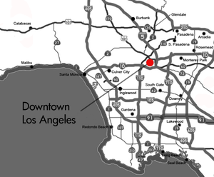 Freeway map of the Los Angeles area showing Downtown LA