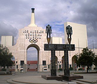 Los Angeles Memorial Coliseum - The entrance to the Coliseum, including the two bronze statues
