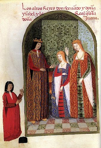 Isabella and Ferdinand with their daughter, Joanna, c. 1482. Los Reyes Catolicos y la infanta dona Juana.jpg