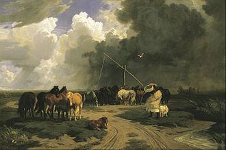 Károly Lotz - Horses in a Rainstorm (1862)