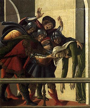 The Story of Lucretia (Botticelli) - Right-hand scene. While her husband is away, the virtuous Lucretia is raped by Sextus Tarquinius, the king's son. After summoning her husband and others she reveals all and stabs herself. Here she has just done so and is dead.